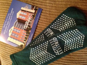 My $400 socks and my thank you card from Methodist, signed by all the people who interacted with me!